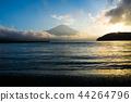 富士山 山中湖 暮色 44264796