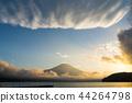 富士山 山中湖 暮色 44264798