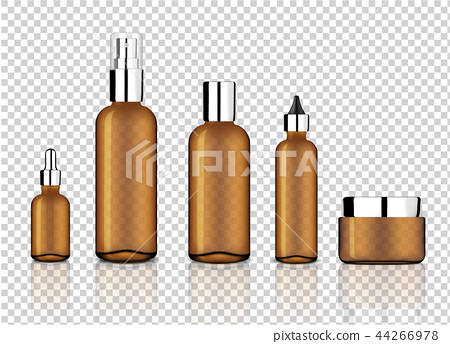 Mock up Realistic Amber Bottle Transparent Glass 44266978
