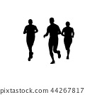 Black silhouettes of running people 44267817