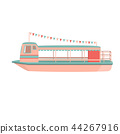 Motor cruiser. Cartoon riverboat icon. 44267916
