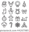 Christmas icons set. Vector illustrations. 44267985