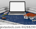 Construction plan with laptop and House. 3d render 44268290