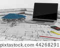 Construction plan with laptop and House. 3d render 44268291