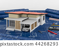 Construction plans with tools and House. 3d render 44268293