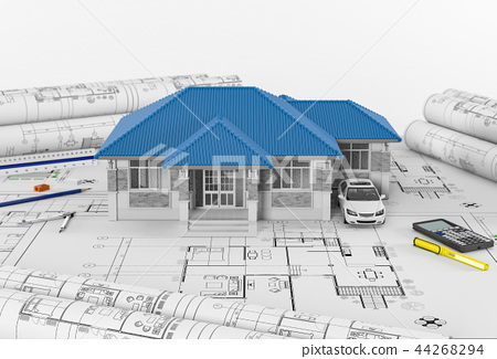 Construction plans with tools and House. 3d render 44268294