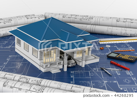 Construction plans with tools and House. 3d render 44268295