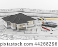Construction plans with tools and House. 3d render 44268296
