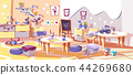 Kids nursery or kindergarten room vector interior 44269680