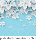 Christmas background with 3d decorative snowflakes 44269763