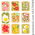 Flat vector set of sandwiches with different ingredients. Toasted bread slices with ham, strawberry 44270084