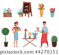 Flat vector set of flower shop elements. Cute plants for home decor, blooming flowers, florists man 44270151