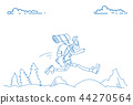 Traveler man big backpack running landscape mountain background hiker happy smiling sketch doodle 44270564