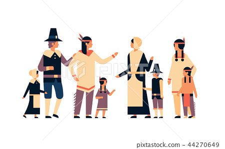native american indian people thanksgiving day celebrating concept men women children group 44270649