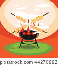 hot grill backyard party illustration 44270992