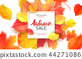 Banner for autumn sale in frame from leaves. Vector illustration EPS10 44271086