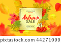Banner for autumn sale in frame from leaves. Vector illustration EPS10 44271099