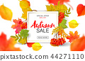 Banner for autumn sale in frame from leaves. Vector illustration EPS10 44271110