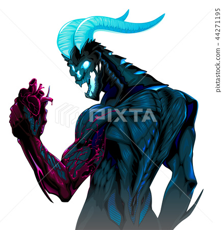 Devil with bleeding heart in his hand 44271195
