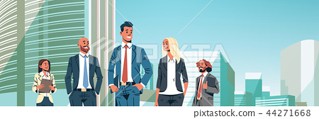 business people group diverse team successful men women over cityscape background male female 44271668