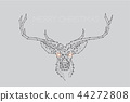 The particles art, line and dot of deer head 44272808