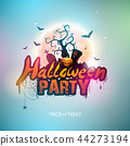Happy Halloween banner illustration with moon, flying bats and pumpkin hand on blue night sky 44273194