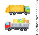 Trucks Transporting Waste Set Vector Illustration 44273396