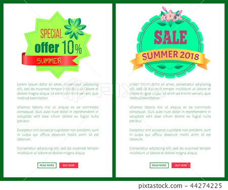 Seasonal Discount Sale Labels Tropical Vector Web 44274225