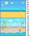 Summertime Paradise Set of Vector Sandy Beaches 44274447
