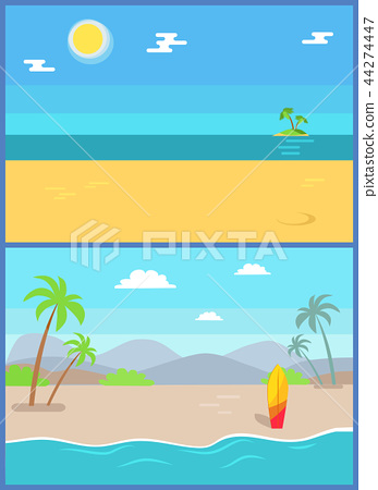 Summertime Paradise Set of Vector Sandy Beaches 44274447