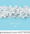 Christmas background with 3d decorative snowflakes 44274938