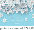 Christmas background with 3d decorative snowflakes 44274939