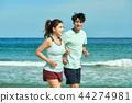 여름, 바다, 커플, 연인, 여자, 남자, 해변, 운동 44274981