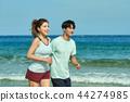 여름, 바다, 커플, 연인, 여자, 남자, 해변, 운동 44274985