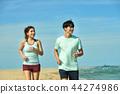 여름, 바다, 커플, 연인, 여자, 남자, 해변, 운동 44274986