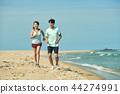 여름, 바다, 커플, 연인, 여자, 남자, 해변, 운동 44274991