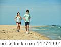 여름, 바다, 커플, 연인, 여자, 남자, 해변, 운동 44274992