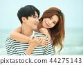 여름, 바다, 데이트, 커플, 연인, 여자, 남자, 파도 44275143