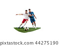 Football players tackling for the ball over white background 44275190