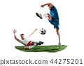 Football players tackling for the ball over white background 44275201