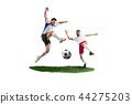 Football players tackling for the ball over white background 44275203