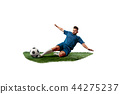 Football player tackling for the ball over white background 44275237