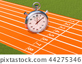 Silver stopwatch, chronometer on the running track 44275346