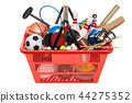 Sports game equipment in shopping basket 44275352