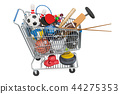 Sports game equipment in shopping cart 44275353