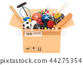 Sports game equipment inside cardboard box 44275354
