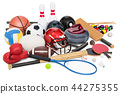 Sports game equipment. 3D rendering 44275355