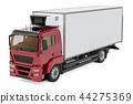 Truck with isothermal van, 3D rendering 44275369