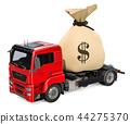 Truck with money bag, 3D rendering 44275370
