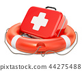 Lifebuoy with First Aid Kit, 3D rendering 44275488